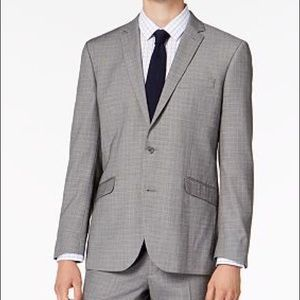 Kenneth Cole New York Blue Gray Plaid Suit Jacket
